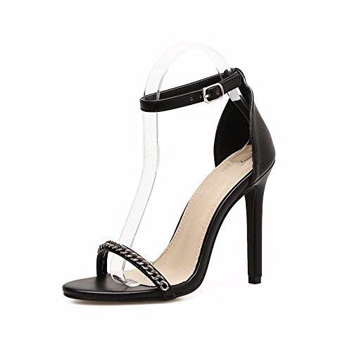 e di dita e con EU colore piedi 36 moda 39 è le nero sexy di YMFIE sottile dei L'estate UE e semplice alti tacchi 6wtqntfI