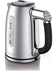 KRUPS BW710D51 Cool-touch Stainless Steel Electric Kettle with Adjustable Temperature, 1.7-Liter, Silver, Stainless Steel with Adjustable Temperature