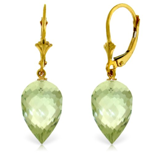 14k Yellow Gold Leverback Dangle Earrings with Pointy Briolette Natural Green Amethyst (14k Amethyst Dangle Earrings)