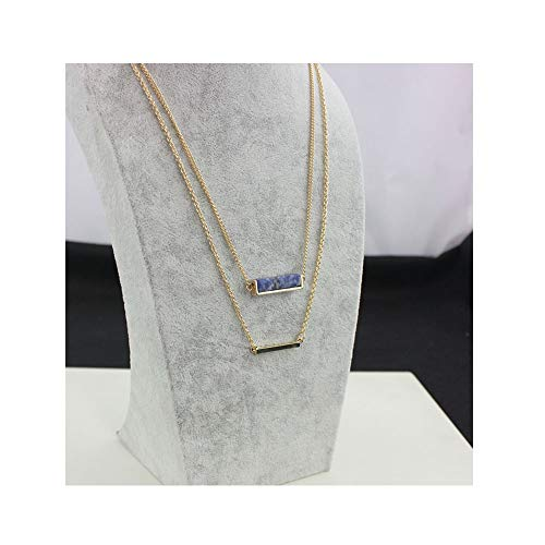 Doule-layer Natural Stone Short Bar Pendant Necklace Geometric Square Bar Stick Necklace for Women Girls (Blue point ()
