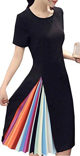 アームストロングしおれた保証女性 レインボー カラー 折目ミニ ブラック ワンピース 長袖/半袖 プリーツ スカート