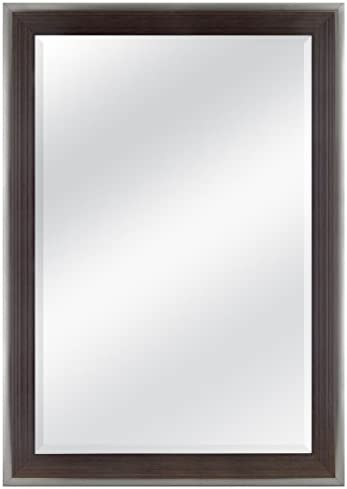 MCS 24×36 Inch Ridged Mirror, 29×41 Inch Overall Size, Walnut 20589