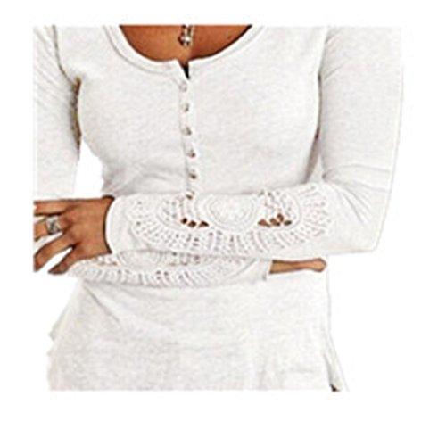 Anglewolf Neue Damen Mode Langarm Lace lose Baumwolle T-Shirt EU34-40 (M, Weiß)