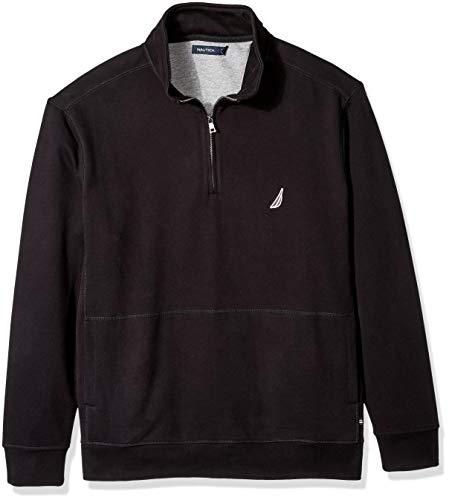 Nautica Men's Big and Tall Basic Long Sleeve 1/4 Zip Fleece Sweatshirt, True Black, (Nautica 1/4 Zip Sweater)
