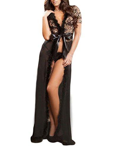 TEZUKAFUJI Womens Sexy Plus Size Lace Lingerie Gown Long Maxi Night Robe Dress Black XL