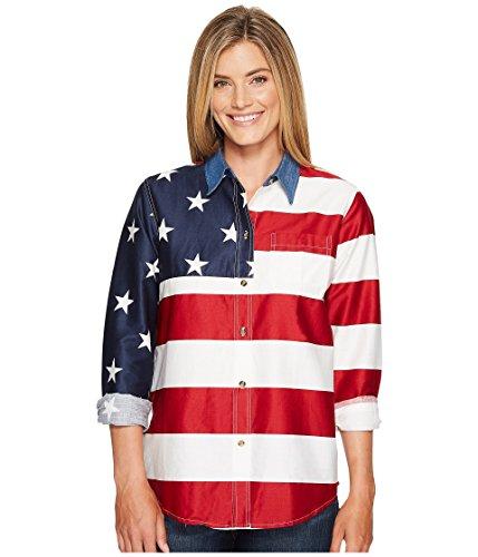 真空惨めなマイル[ローパー] レディース シャツ L/S Stars and Stripes Pieced Flag [並行輸入品]