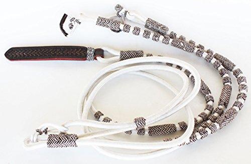 (PRORIDER White Braided Rawhide Nylon Romel ROMAL Rommel Western Cowboy Horse REINS 60760)