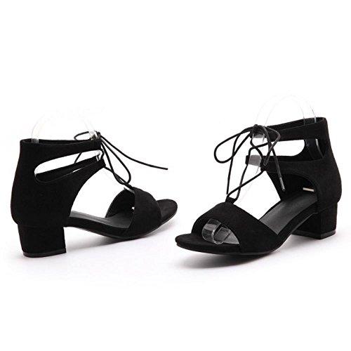 TAOFFEN Mujer Moda Correa de Tobillo Tacon Ancho Alto Sandalias Mujeres Colegio Gladiator Zapatos Negro