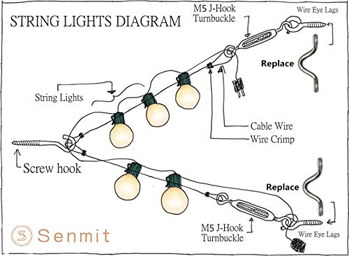 amazon com senmit globe string lights suspension kit, outdoor two light wiring diagram amazon com senmit globe string lights suspension kit, outdoor light guide wire, vinyl coated stainless steel steel cable, 164 ft with turnbuckle and hooks