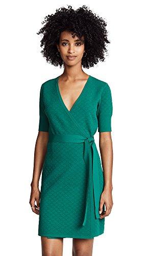 Diane von Furstenberg Women's Sweater Wrap Dress, Pine, Small -