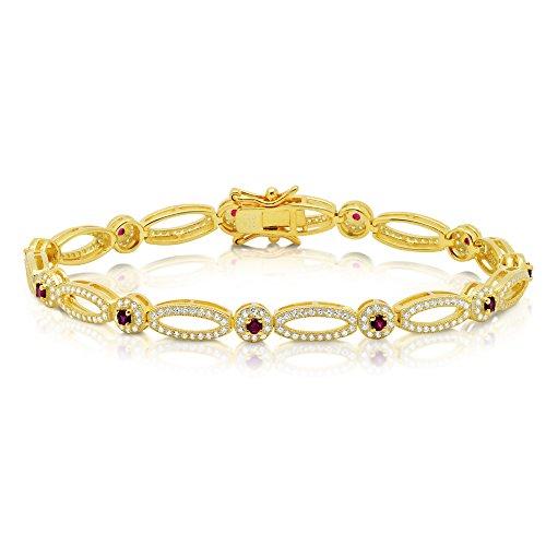18 k jaune or plat ovale Link Bracelet rouge Pierre corindon St.. à base solide.