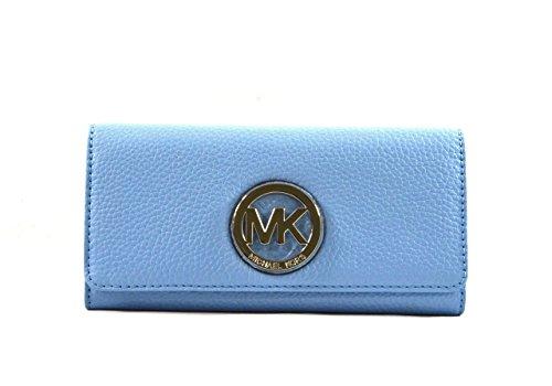 Michael Kors Fulton Flap Continental Leather Wallet - Light - Blue Kors Michael Light