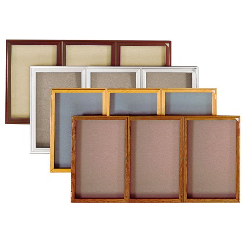 3 Door Enclosed Bulletin Board Size: 3' H x 6' W, Surface Color: Beige, Frame Finish: Oak