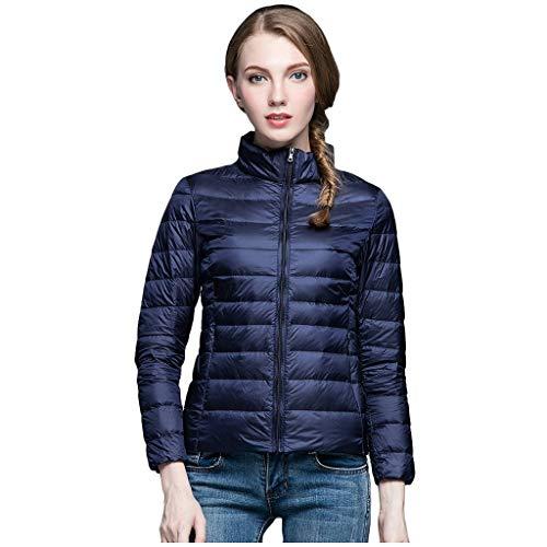 aihihe Down Coats for Women Packable Lightweight Stand Collar Puffer Jackets Coats Short Down Jacket Outwear Parka Navy