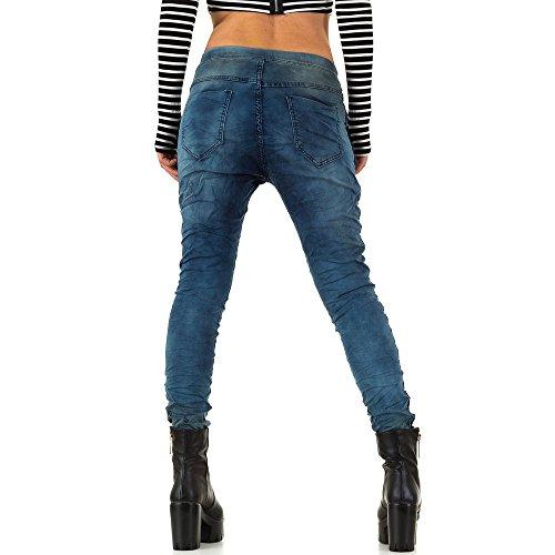 Used Look Jogger Boyfriend Jeans Für Damen , Blau In Gr. 34 bei Ital-Design