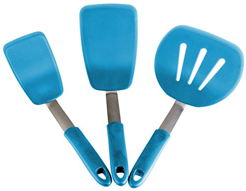 (StarPack Premium Flexible Silicone Turner Spatula Set of 3 - High Heat Resistant to 600°F, Hygienic One Piece Design, Non Stick Rubber Kitchen Utensils for Fish, Eggs, Pancakes & Cookies (Teal Blue))
