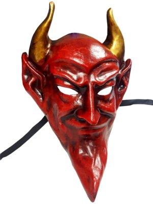 Deluxe Handmade Devil Venetian Full Face Mask in Red ideal for Halloween Masked Balls