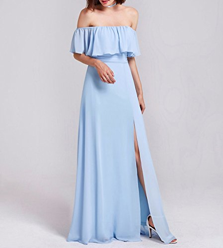 Wedding Shoulder Off Slit Bridal Dress Dress Chiffon Evening Bridesmaid Blue High Amore q6TIRw7Ux