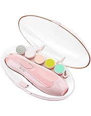 Lima de uñas bebe, GLURIZ Cortaúñas para bebe eléctrico, Pulidor de uñas para bebés, Luz LED, Cortaúñas Versátiles