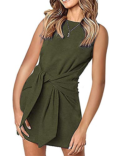 Besshopie Womens Tie Knot Front Sleeveless Solid Crew Neck Mini Sheath Dresses Army Green