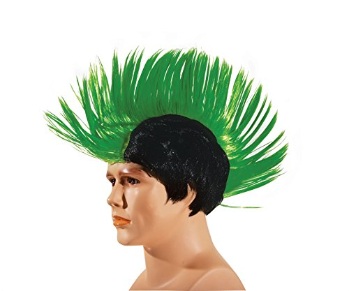 [Star Power Men Punk Ultra Tall Mohawk Wig, One Size, Neon Green] (Neon Green Wigs)