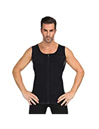 Men's Zippered Sports Vest Body Shaper Slimming Waist Trainer Corsets Shapewear Neoprene Waist Trainer Body Shaper Shirt,XXL