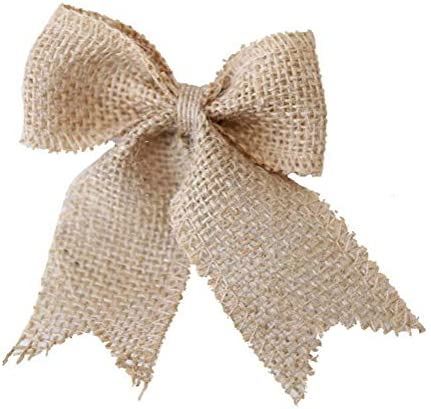 10 Pcs Burlap Bows Bow Tie Ornaments Handmade Rustic Bowknot Wedding Decor Bows Bowknot Embellishments for DIY Art Craft Gifts Wrapping Home Wedding Party Supplies Decoration (Style B)