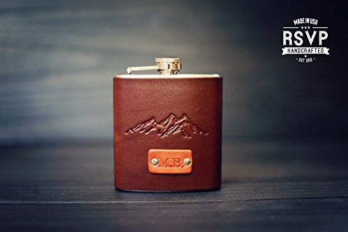 (Custom Leather Flask, Handmade personalized gift for your boyfriend, Groomsman, husband, best man. Mountains, wanderlust, Pick Initials,)