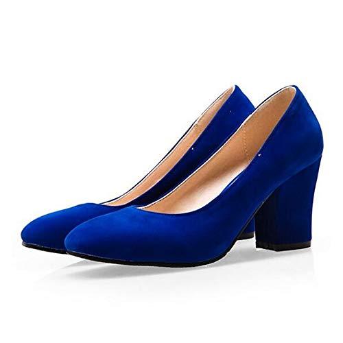 ZHZNVX Chunky Comfort de Spring Red Mujer PU Black Black Heels Zapatos Poliuretano Blue Heel 6rWq16n
