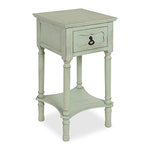 (Kate and Laurel Marcella Classic Nightstand Side End Table with Drawer and Lower Shelf, Vintage Pastel)