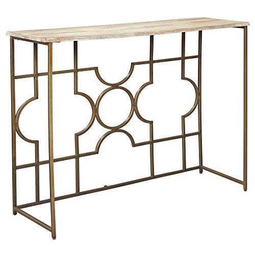 Signature Design by Ashley – Roelsen Console Sofa Table – Contemporary – Gold Finish