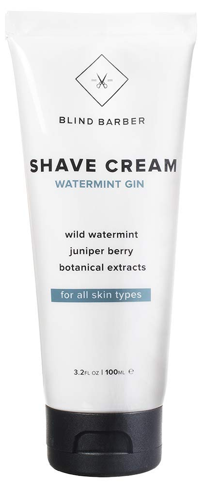 Blind Barber Watermint Gin Shave Cream - Creamy Beard Lather for Men - Protect & Moisturize Sensitive Skin - Good on All Skin Types (3.2oz / 100ml)