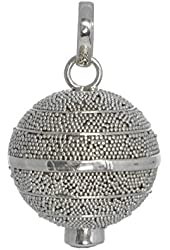 Balinese Chiming Sphere Pendant with Blue Topaz Sterling Silver Bali