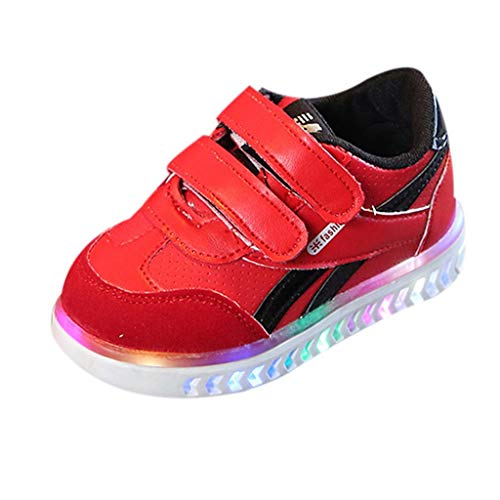 (RAINED-Unisex Baby Boys Girls Breathable LED Light Up Shoes for 1-6Years Old Luminous Mesh Sport Shoes Flashing Sneakers Red)