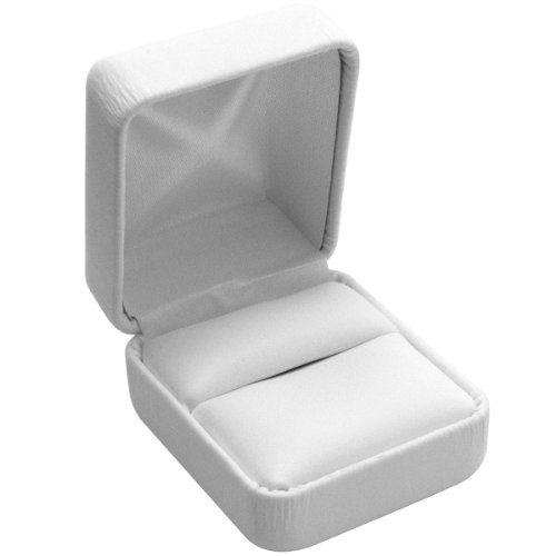 (White Leather Jewelry Ring Display Packaging Gift Boxes ~ Pack of 12)