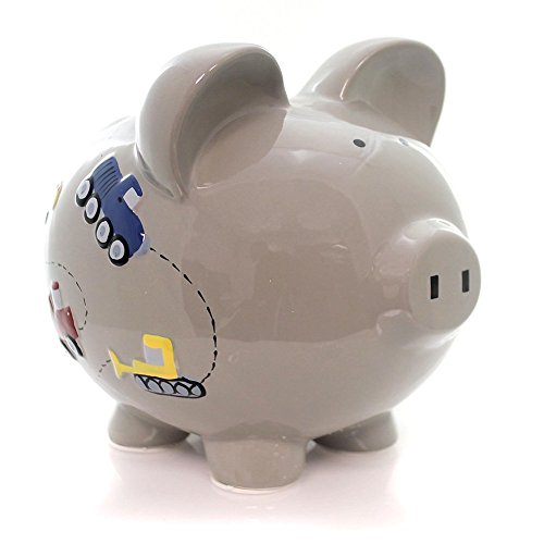 Child to Cherish Ceramic Piggy Bank for Boys, Construction Trucks, Grey