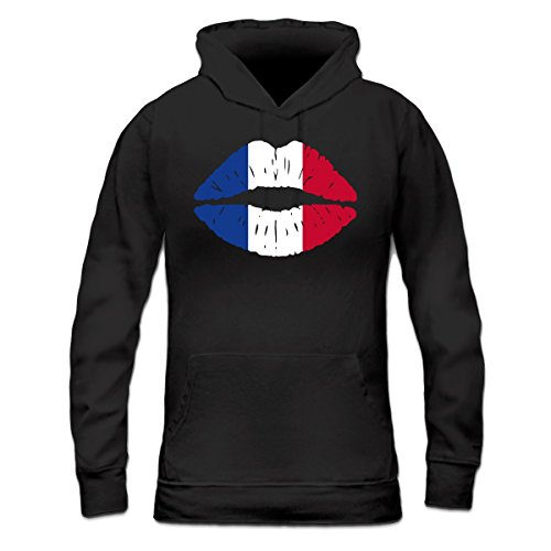 Sudadera con capucha de mujer French Kiss Flag by Shirtcity Negro