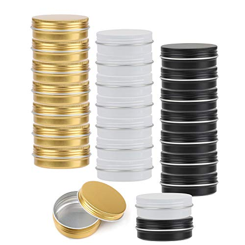 Dia Tin - Tosnail 24 Pack 2 oz. Round Tins Lip Balm Tin Container Cosmetic Containers with Screw Thread Lids - Black, White and Gold