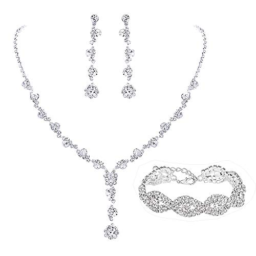 - UDORA Rhinestones Necklace Earrings Jewelry Sets for Bridal Wedding Party (3-Set)