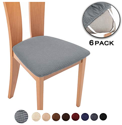 TIANSHU Spandex Jacquard Dining Room Chair Seat Covers,Removable Washable Elastic Cushion Covers for Upholstered Dining Chair (6 Pack, Light Gray)