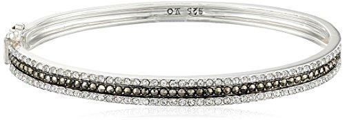 Judith Jack ''Classics'' Sterling Silver, Marcasite Oval Bangle Bracelet, 2.7'' by Judith Jack