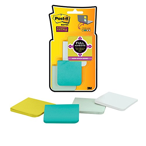 Post-it Super Sticky Full Adhesive Notes, 2x Sticking Power, 2 in x 2 in size, Bora Bora Collection, 8 pads/pack...