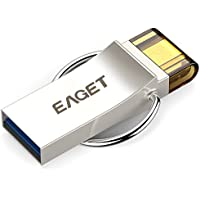 EAGET USB Flash Drive 64GB Keychain Android Thumb Drive Micro USB OTG Android Memory Stick Waterproof Shockproof V90