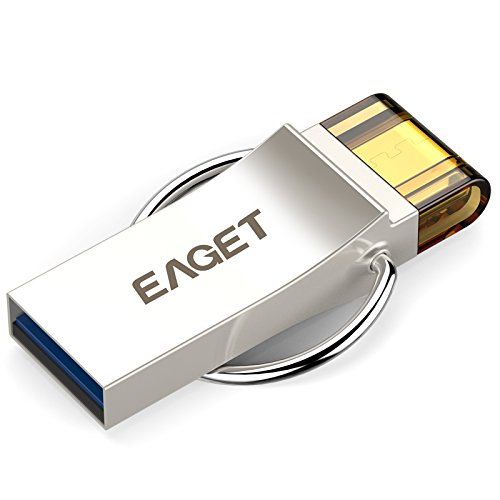 EAGET USB Flash Drive 32GB Keychain Android Thumb Drive Micro USB OTG Android Memory Stick Waterproof Shockproof V90