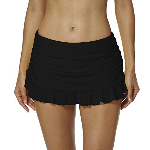(BEFAiR Lightweight Running Skirt for Women's Tennis Workout Swimming Exercise,Black,L:US 14=Waist 32 inch)