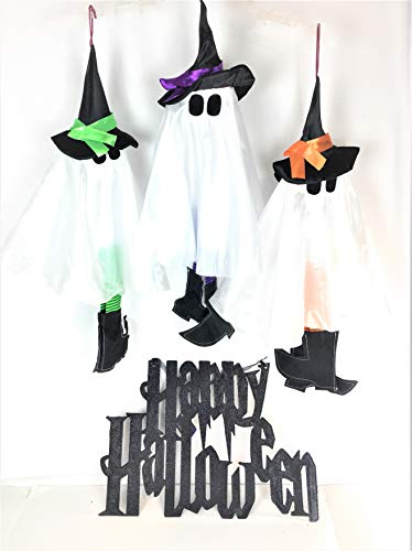 Greenbriar Halloween Decorations for Home or Party| Fun Hanging Ghosts and Black Glitter Happy Halloween Sign| Bundle Set of 4 -