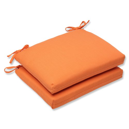 Pillow Perfect Indoor/Outdoor Squared Corners Seat Cushion (Set of 2) with Sunbrella Canvas Tangerine Fabric, 18.5 in. L X 16 in. W X 3 in. D