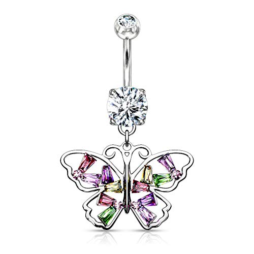 Amelia Fashion 14GA Butterfly with Multi Colored Baguette CZ Wings Dangle Belly Button/Navel Ring 316L Surgical Steel (Silver/Multi)
