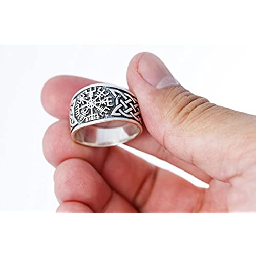 SilverMania925 925 Sterling Silver Viking Vegvisir Norse Compass Asatru Knotwork Solid Ring