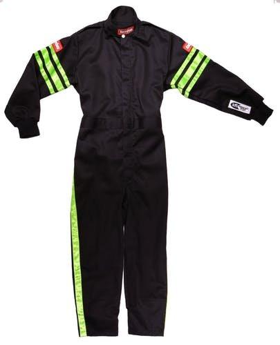 RaceQuip Unisex-Child Kids Single Layer Suit Black//Pink, X-Large